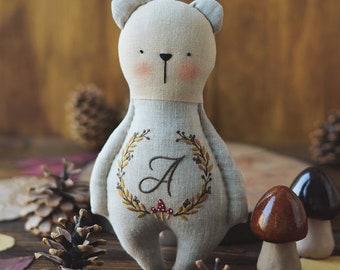 Handmade bear - Stuffed bear toy - Stuffed bear - Stuffed animal - Bear baby shower  Cloth bear doll  Personalized doll  Handmade bear gifts