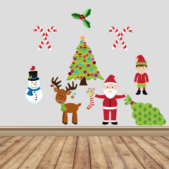Christmas Wall Decals Removable.Christmas Wall Decal Removable Stickers Holiday Decor Fabric Wall Decal Christmas Decor Wall Stickers Santa Sticker Snowman Sticker