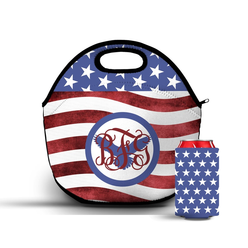 acd970583834 Monogram Lunch Bag, Custom Lunch Box, Red White Blue Tote, Back to School,  Double Sided Lunch bag, American Flag Tote, insulated lunch bag
