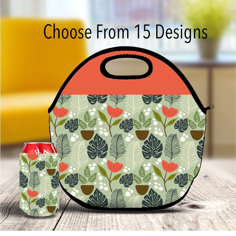 cea9bc66c755 Botanical Lunch Bag, Custom Lunch Box, Floral tote Bag, Tropical Snack Bag,  Treat Bag, Zippered Bag, Travel Bag, Storage Pouch, Tote Bags
