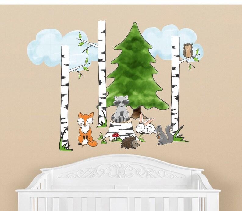 Gut gemocht Kindergarten Wald Tier Stoff Wand aufkleber Wald Kinderzimmer   Etsy ZQ31