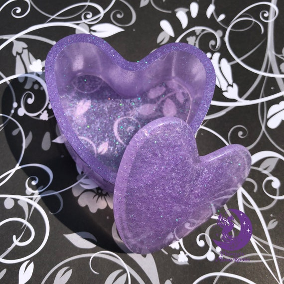 Small Lavender Glittery Heart shaped Resin Trinket Box with lid