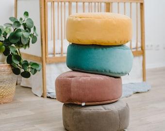 Small velvet round bean bag chair - toddler nursery floor cushion - stylish nursery decor pouf