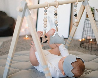 High Quality Grey Nordic Wooden baby play gym - baby activity gym - stylish nursery baby baby gym frame