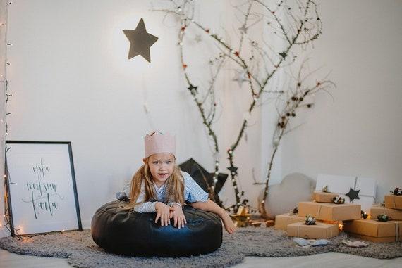 Peachy Black Leather Round Bean Bag Chair Toddler Nursery Floor Cushion Nursery Decor Eco Leather Pouf Theyellowbook Wood Chair Design Ideas Theyellowbookinfo
