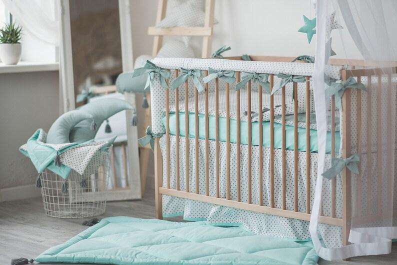 Mint Kinderbett Bettwäsche Set Baby Junge Mädchen Kinderzimmer Kinderbett Stoßstange Schiene Abdeckung Spannbettlaken Veranstalter Set