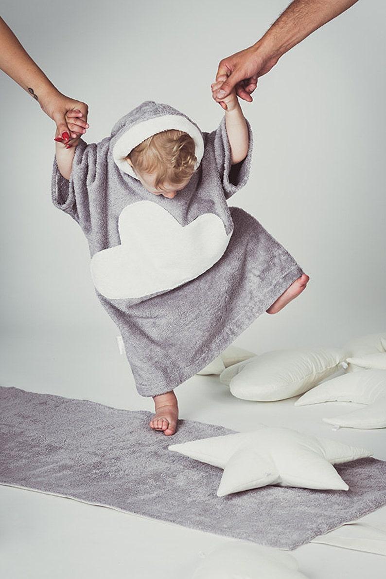 4a24cf05eb954 Kids beach cover up Cloud pocket White gray Toddler bathrobe | Etsy