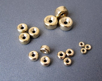 14k gold rondelles • 3.2 / 4.2 / 5 / 6 / 7 / 8 mm • Solid 14 carat yellow gold • Light weight • Smooth polished rondelle spacer beads