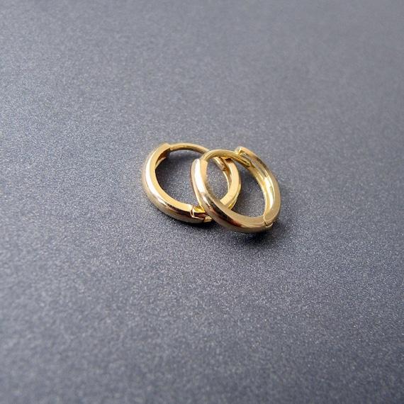 18k gold huggie earrings • 11mm 13mm 15mm x 2mm wide • Single earring / Pair • Solid 18 carat Yellow gold • Mini Sleeper Huggies Hoops