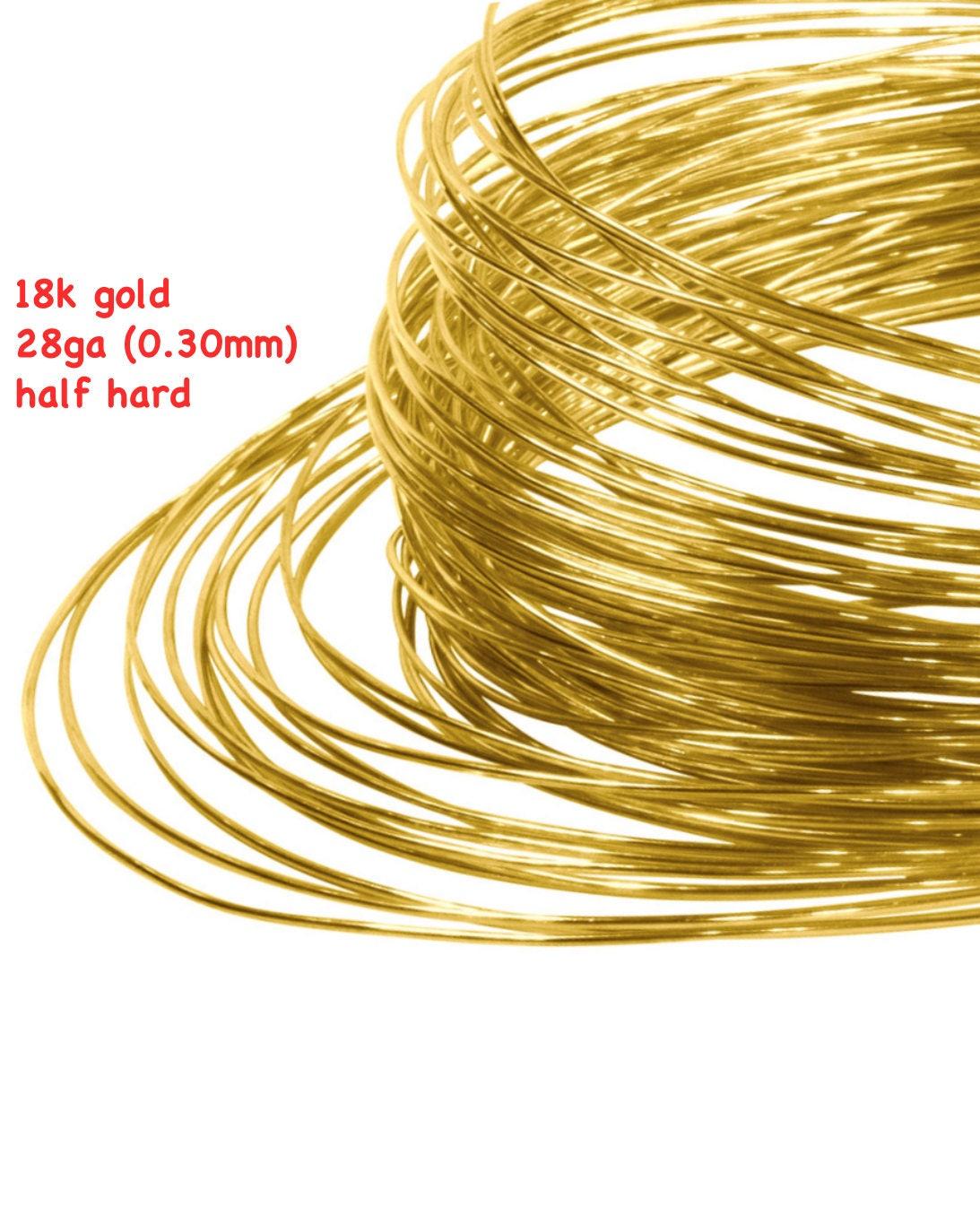 Massiv 18k gold Draht 28ga 030 mm halb harten rund 18 Karat   Etsy