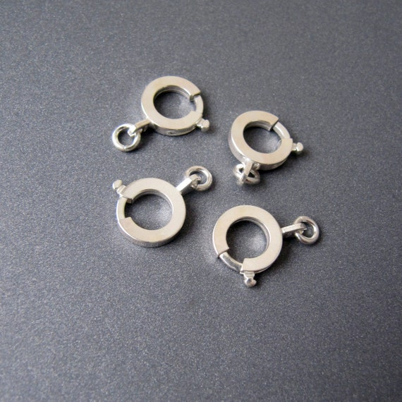 5x-8mm Solid Sterling Silver Bolt Ring Clasp Open Heavy-Findings-Spring Ring