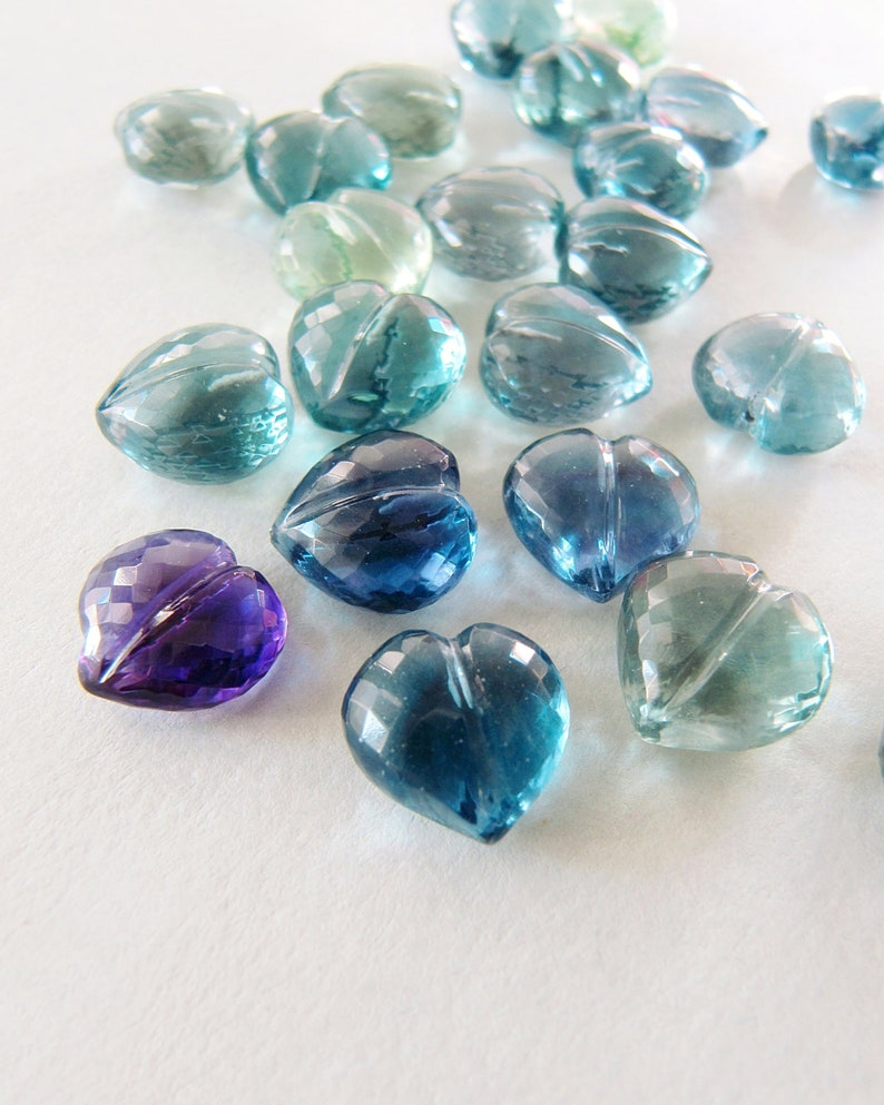 Fluorite carved heart Half top drilled STUNNING Blue Green Purple AAA microfaceted hearts briolettes Natural gemstone carving Charm earrings