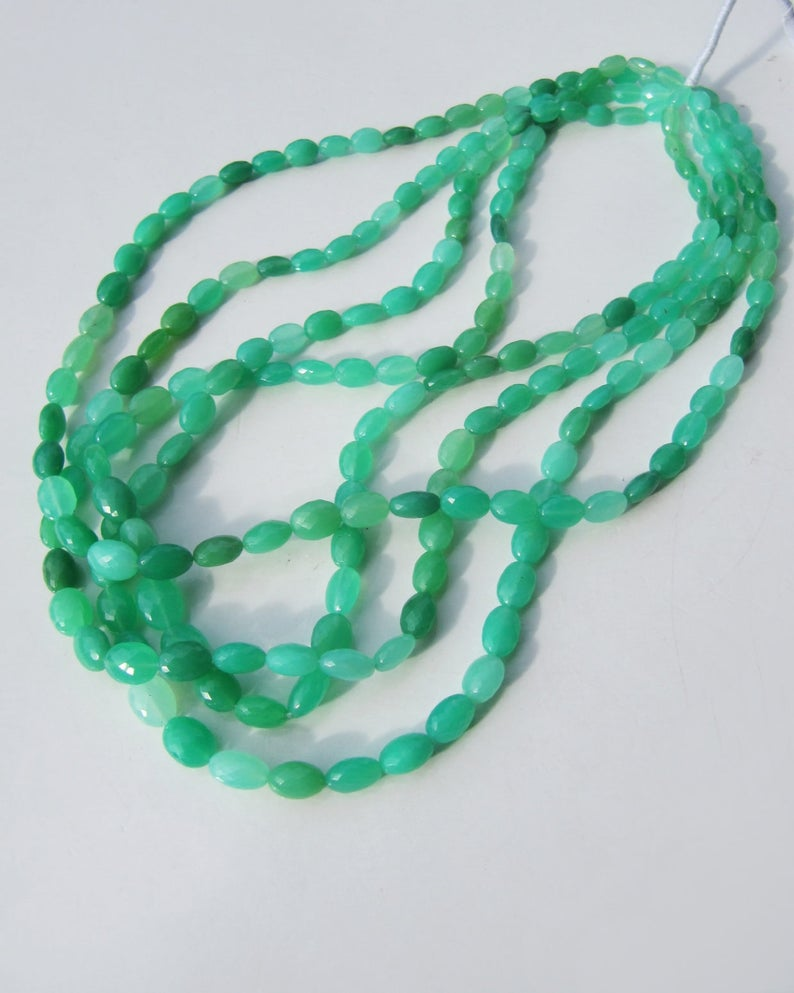 Chrysoprase ovals AAA gem grade 4 inches 10cm mint apple emerald green micro faceted natural genuine for multi strand bracelet