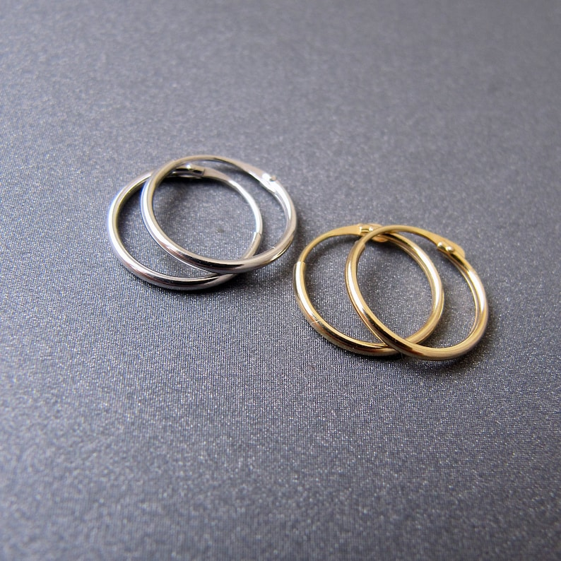 3d606c634ee61 18k gold hoop earrings • 11mm thin dainty hoops • Solid 18 carat yellow /  white gold • Minimalist every day jewelry • Nickel Free