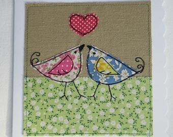 Love Birds Textile Art Greetings Card