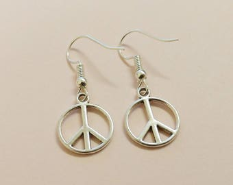 Peace sign earrings, peace jewellery, peace love, inspirational, peace symbol jewelry, hippie earrings, tibetan silver, give peace a chance