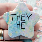 They he badge, star shaped pronouns pins