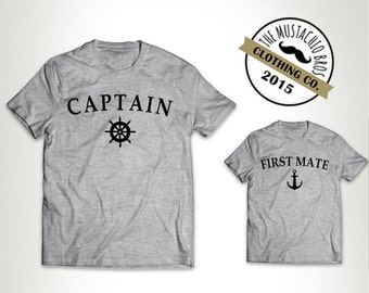 Captain and First Mate - Father Daughter Matching Shirts Father And Son Gift Daddy Baby Shirt Matching Family Outfits Bodysuit MB238-MB239