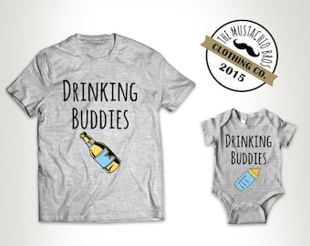 Drinking Buddies - Father Daughter Matching Shirts Father And Son Gift Daddy Baby Shirt Matching Family Outfits Bodysuit MB688-MB689