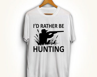 151498821 Funny I'd Rather Be Hunting T-Shirt TShirt Tee Shirt Wheel Hunter Fish  Outdoors Birthday Gift for Him Deer Duck Hunt Love Wild Cottage MB153