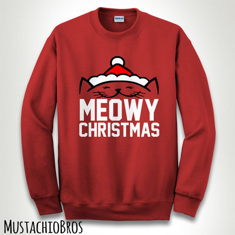 Kitten Christmas Sweater.Meow Merry Cat Kitten Ugly Christmas Sweatshirt Sweater Jumper Pullover Slogan Tumblr Funny Santa Cute Love Gift Hoodie Mb200