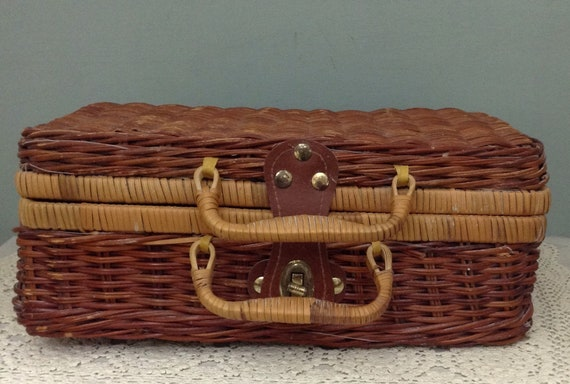 Wicker Basket Purse   Small Picnic Basket   Rattan