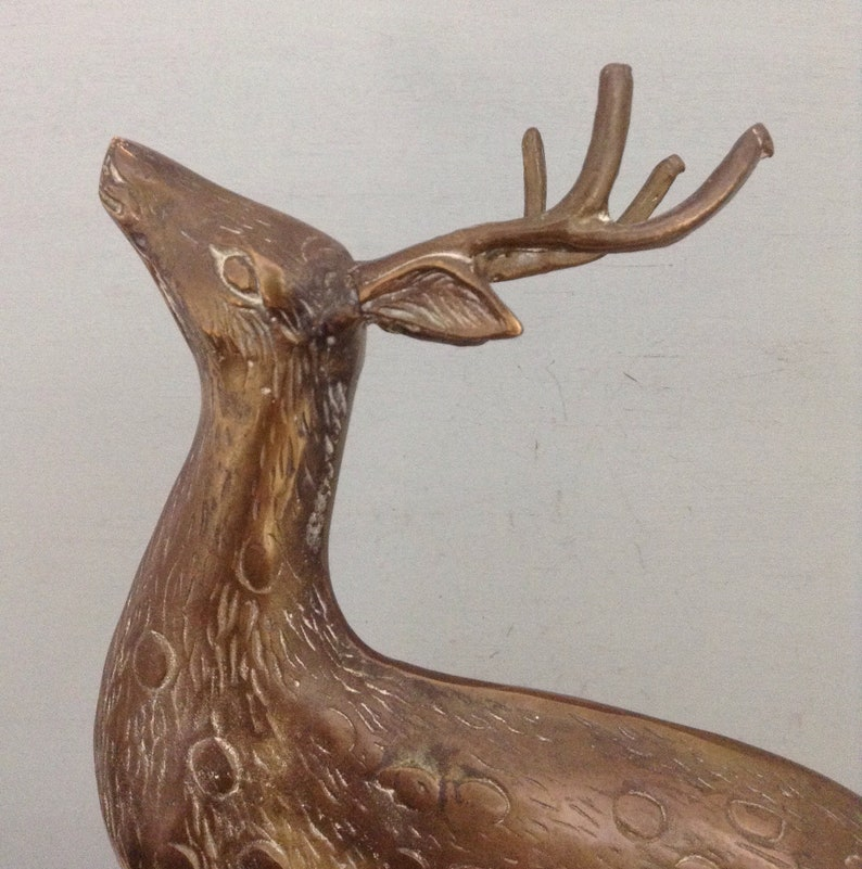 Solid Brass Deer Figurine Pair    Large Deer Sculpture Pair     Deer Couple   Buck Figurine    Doe Figurine