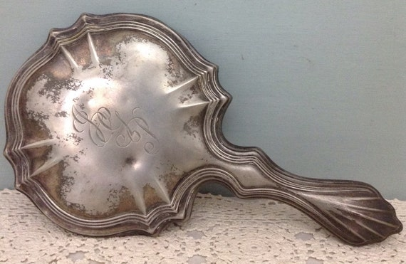 Silver Plate Hand Mirror  Beveled Edge Hand Mirror