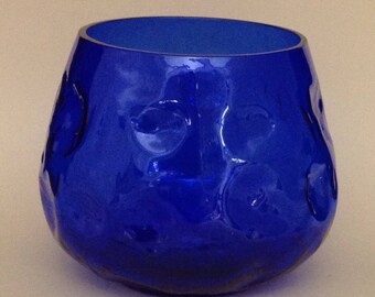 Vintage Optic Blue Vase Small Vintage Vase Cobalt Blue Vase Art Glass Vase Rose Bowl Italian Empoli Blue Vase