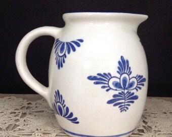 Vintage Pottery Pitcher Juice Pitcher Milk Pitcher Delft Blue Pitcher Farmhouse Decor