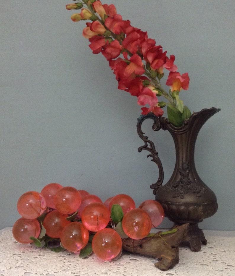 Pink Lucite Grape Cluster On Driftwood Fruit Centerpiece Kitchen Decor  Vintage Grape Cluster Kitschy Kitchen Decor Tuscan Fruit Decor