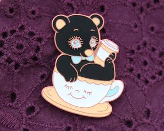 Coffee Bear Hard Enamel Pin Pastel Black Tea Caffeine Baby Kawaii Cute Pink Blue Accessories Magical Christmas Gift Art Myfriendsoftheforest