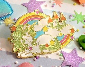 Unicorn Rainbow Hard Enamel Pin Glitter Pastel Stars Clouds Castle Kawaii Cute Accessories Magical Gift Christmas Art Myfriendsoftheforest