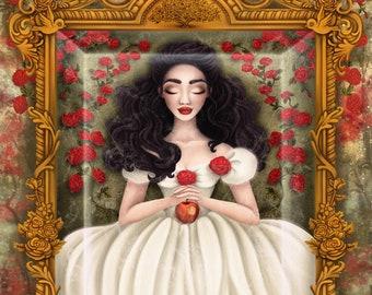 9x12 Art Print SIGNED Pop Surrealism Lowbrow Grimms Fairy Tale Snow White Coffin Princess Ornate Frame Julie Edwards Myfriendsoftheforest