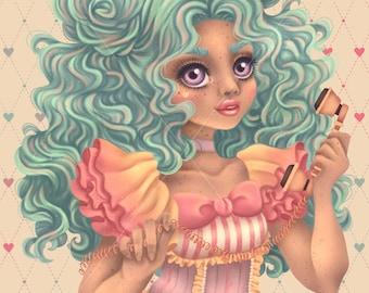 9x12 Art Print SIGNED Pop Surrealism Lowbrow Vintage Telephone Pastel Lolita Kawaii Julie Edwards Myfriendsoftheforest Little Miss No Time