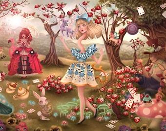 9x12 Art Print SIGNED Pop Surrealism Alice in Wonderland Mad Hatter Cheshire Cat White Rabbit Kawaii Cake Julie Edwards Myfriendsoftheforest