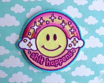 Pastel Iron-On Embroidered Patch Shit Happens Kawaii Rainbow Cute Smiley Face Sarcastic Sassy Accessories Funny Gift Myfriendsoftheforest