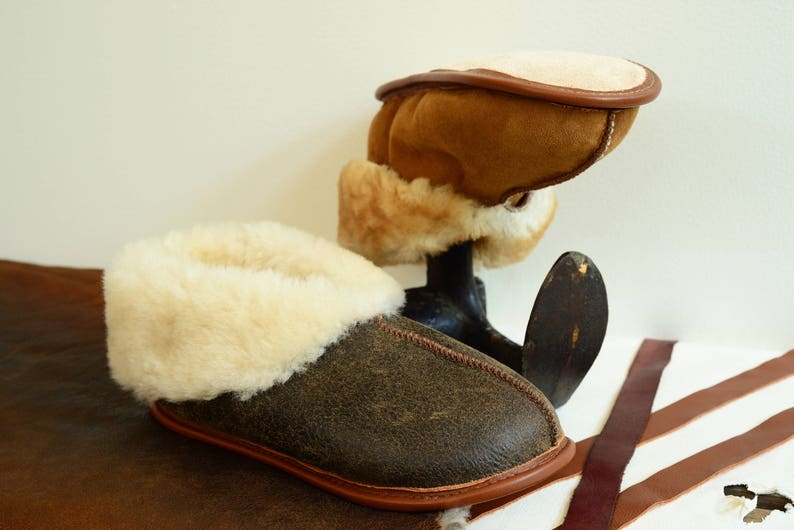 b52fb8c8d695f1 The Best Men's Sheepskin Slippers Shearling Booties Fur | Etsy