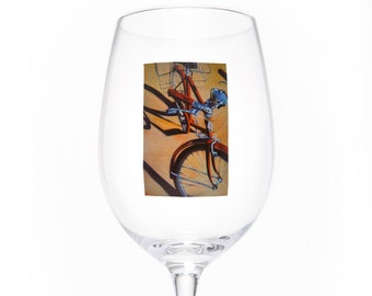 On the Wheel Single Wine Glass - Red Schwinn