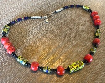 Neon colors African Trade Bead Necklace