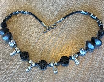 Black cinnabar and Ethiopian fertility bead necklace