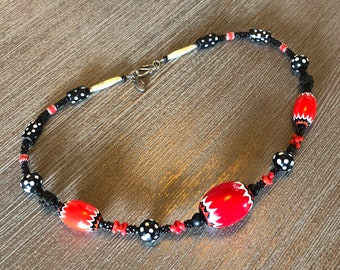 Antique Red Chevron and Eye Bead Necklace