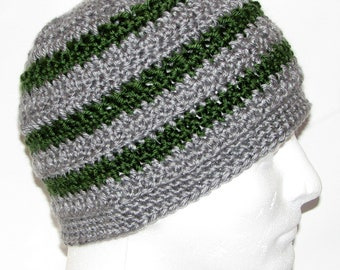 bedec03790b Mens Winter Hat - handmade crochet USA- size medium - gray and green stripes