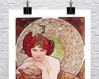 Emerald 1900 Alphonse Mucha Art Nouveau Poster Rolled Canvas Giclee Print 17x36 in.