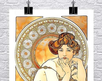 Topaz 1900 Alphonse Mucha Art Nouveau Poster Rolled Canvas Giclee Print 17x36 in.