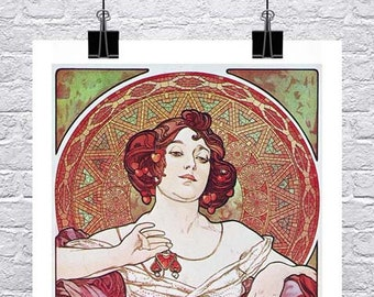Ruby 1900 Alphonse Mucha Art Nouveau Poster Rolled Canvas Giclee Print 17x36 in.