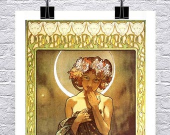 The Moon Vintage Alphonse Mucha Art Nouveau Poster Rolled Canvas Giclee Print 17x38 in.