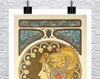 La Plume 1899 Alphonse Mucha Art Nouveau Poster Rolled Canvas Giclee Print 17x34 in.