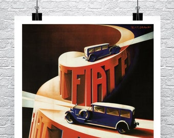Fiat 1928 Vintage Auto Advertising Poster Rolled Canvas Giclee Print 24x34 in.