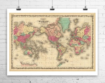 Antique world map etsy the old world antique world map rolled canvas giclee print 36x24 in gumiabroncs Gallery